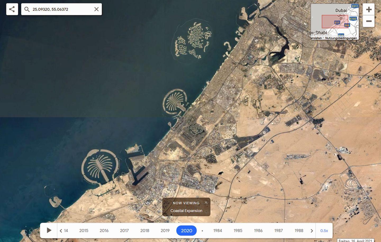 Satellitenbild im Zeitraffer von Dubai