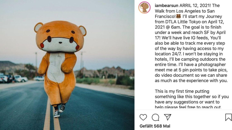 Ein Mann in lebensgroßem Teddybärkostüm läuft auf einer Straße