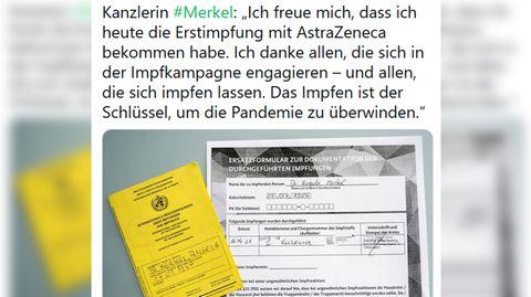 Mit diesem Tweet berichtete Regierungssprecher Steffen Seibert von der Astrazeneca-Impfung von Bundeskanzlerin Angela Merkel