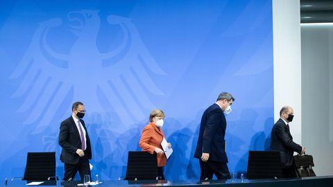 Michael Müller, Angela Merkel, Markus Söder, Olaf Scholz