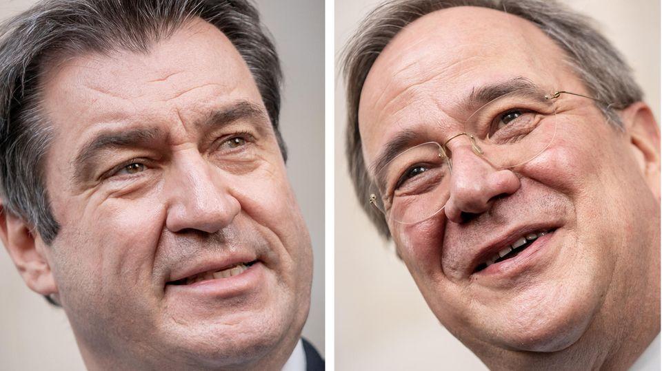 Markus Söder (li., CSU), und Armin Laschet (CDU)