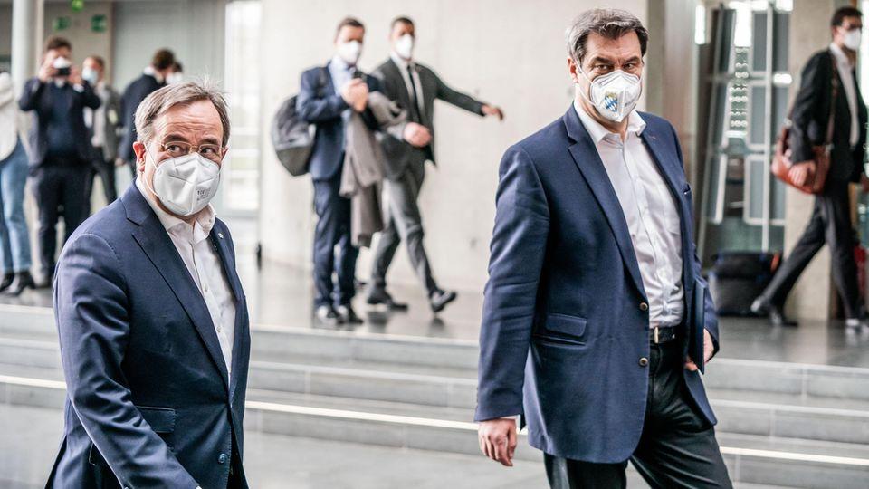 Armin Laschet, Bundesvorsitzender der CDU, und Markus Söder, Bundesvorsitzender der CSU