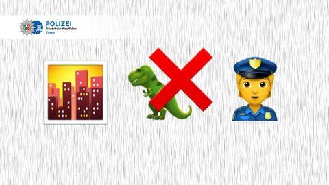 Emojis: Stadt, T-Rex, rotes X, Polizei