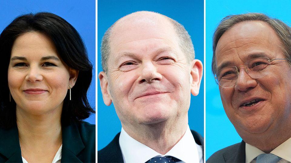 """Annalena Baerbock (Grüne), Olaf Scholz (SPD) und Armin Laschet (CDU) stehen in der RTL-Sondersendung""""Kampf ums Kanzleramt – Die Kandidaten stellen sich"""" Rede und Antwort."""