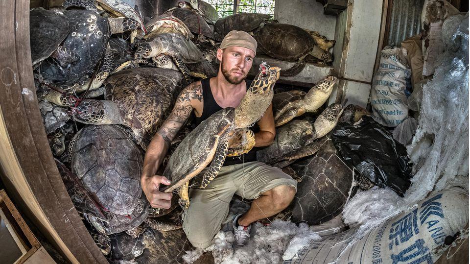 Robert Marc Lehmann bei einer Schildkröten-Befreiung