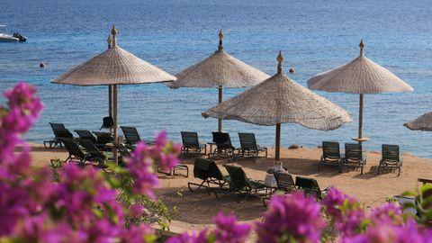 Leere Sonnenliegen an der ägyptischen Küste.
