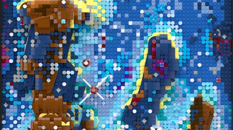 Lego Store Event: Ausschnitt aus einem der 3D-Reliefs der Hubble-Aufnahme