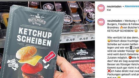 das Produkt Ketchup in Scheiben vor einem Supermarktregal