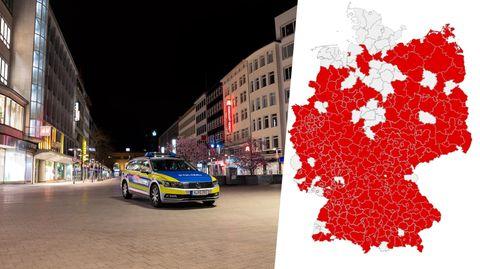 Polizei überwacht Ausgangssperre in Hannover; Karte mit Coronavirus-Inzidenzwerten in Deutschland