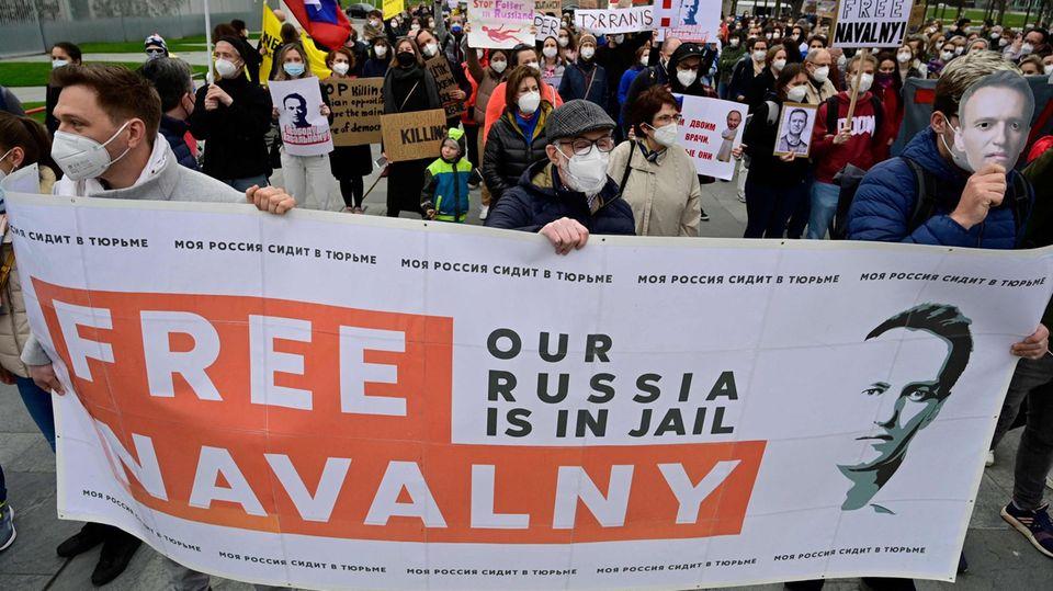 Parallel zu den Protesten in Russland fanden weltweit Aktionen zur Unterstützung von Alexej Nawalny statt