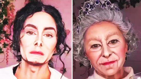 Zwei Gesichter. Die linke Person sieht Michael Jackson, die rechte Person der Queen zum Verwechseln ähnlich.