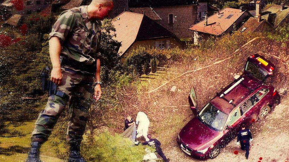 Der Schütze zielte sehrpräzise. Der Fahrer des rotenBMW hatte versucht,davonzufahren, bevor auchihn die Kugeln trafen