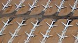 Luftaufnahme aus Teruel: Hier warten vor allem Airbus A340-600 und Boeing 747-400 auf die endgültige Zerlegung.