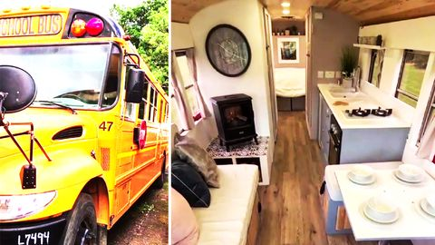 Umgebauter Schulbus wird zu Tinyhouse