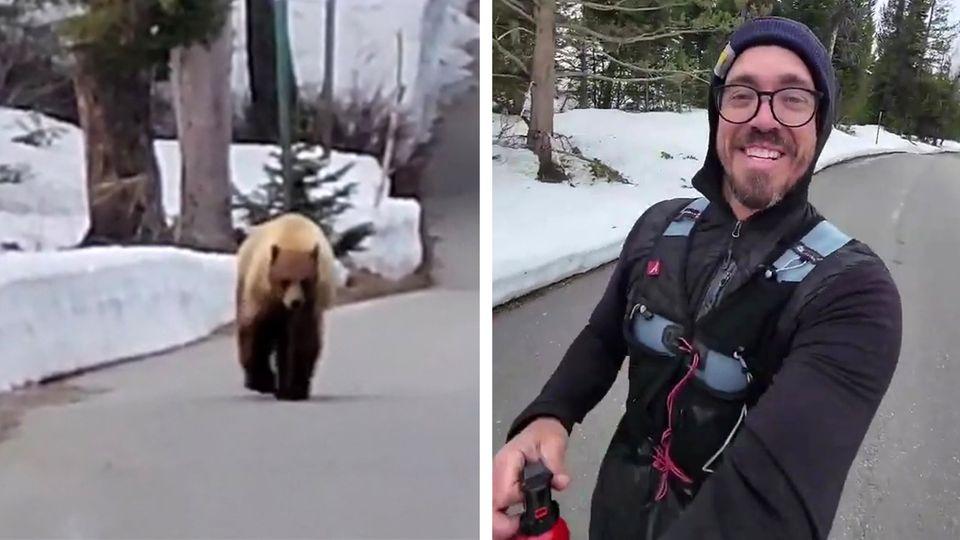 Bär verfolgt Jogger im Wald – der filmt alles