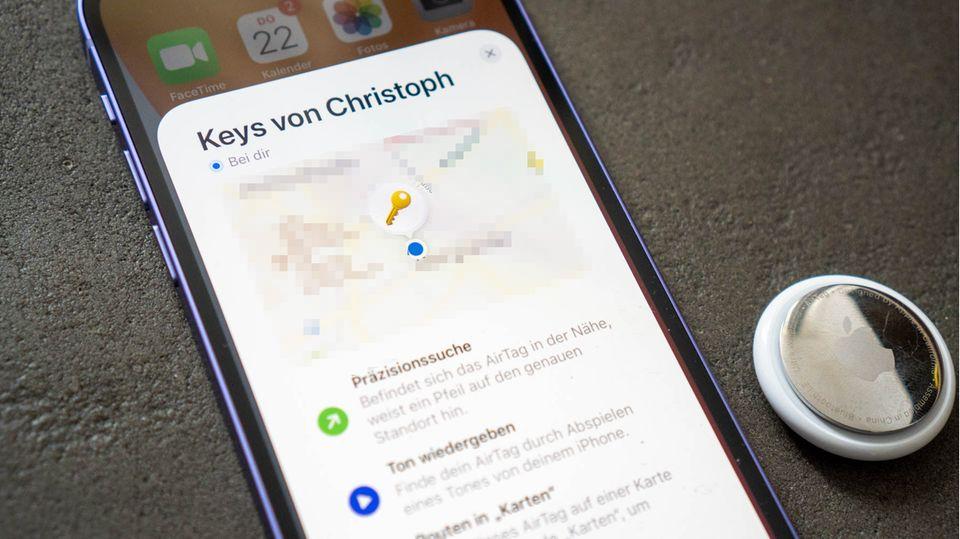 """Die Standorte des AirTags kann man sich in der """"Wo ist?""""-App anzeigen lassen."""