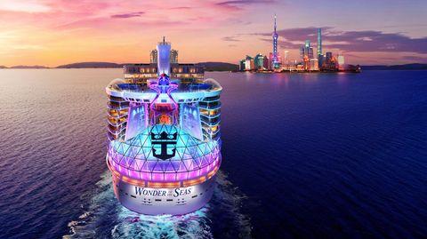"""Blick in die Zukunft: Vor wenigen Tagen hat die Reederei Royal Caribbean die ersten Reisetermine und Ziele genannt: Ab März 2022soll die """"Wonder oft he Seas"""" zu Kreuzfahrten ab Shanghai und Hongkong aufbrechen."""