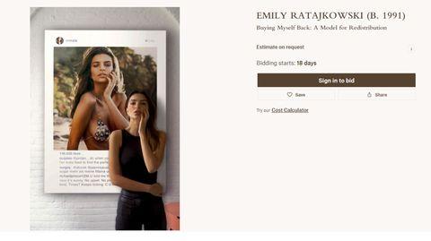 Beim Auktionshaus Christies will sich Emily Ratajkowski ihr Bild zurückerobern