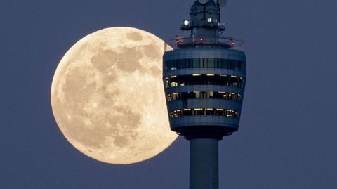 """""""Supermond"""" hinter dem Stuttgarter Fernsehturm"""