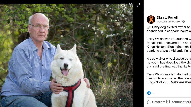 Terry Walsh und seine Husky-Hündin Hel