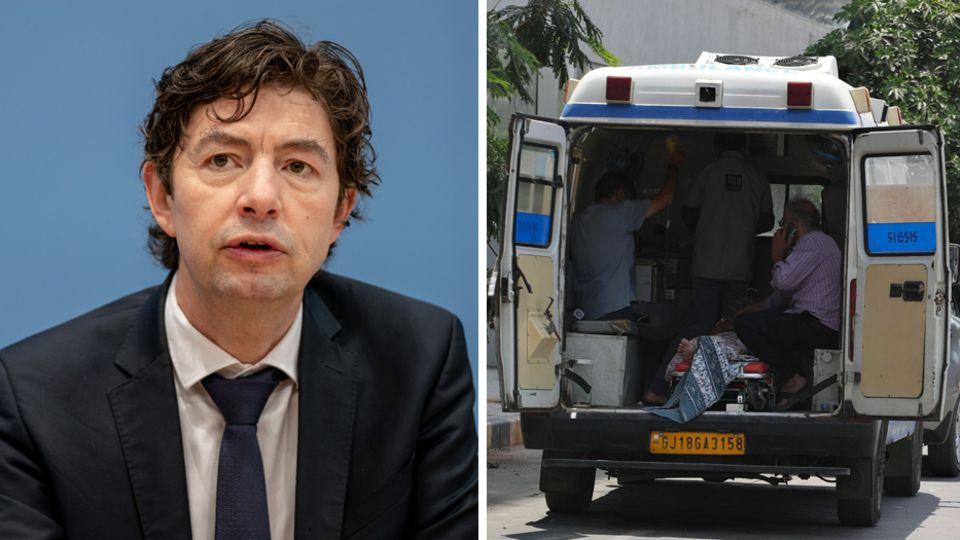 Coroanvirus-Experte Christian Drosten; Krankenwagen in Indien