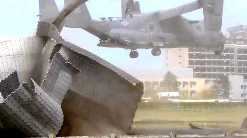 CV-22 Osprey der US Air Force zerstört Landeplatz des Addenbrooke's Krankenhaus in Cambridge