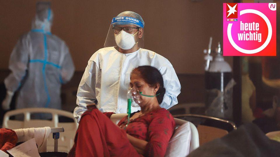 Frau mit Sauerstoffmaske