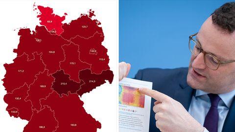 Links zeigt eine Deutschland-Karte die Bundesländer mit ihrer Corona-Inzidenz, rechts zeigt Jens Spahn auf eine Grafik
