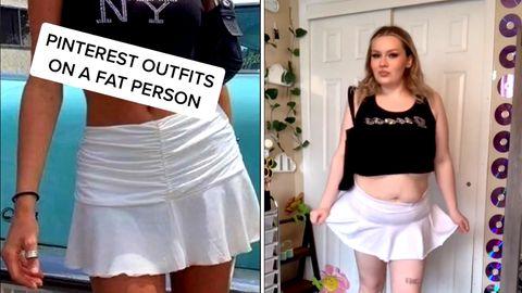 Frau zeigt, wie trendige Outfits an Plus-Size-Frauen aussehen