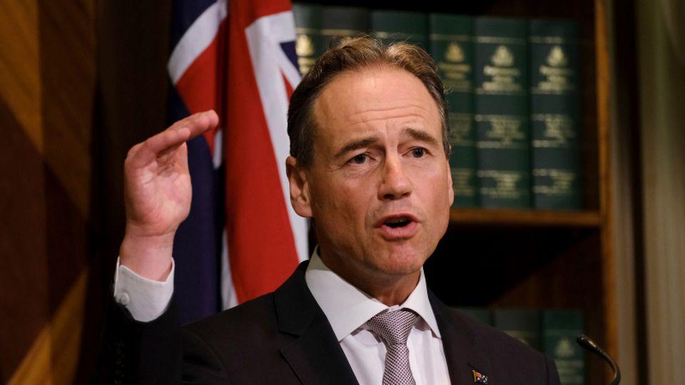 Australiens Gesundheitsminister Greg Hunt bei einer Pressekonferenz