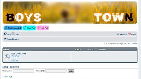 """Screenshot der vom Bundeskriminalamt abgeschalteten kriminellen Plattform """"Boystown"""""""