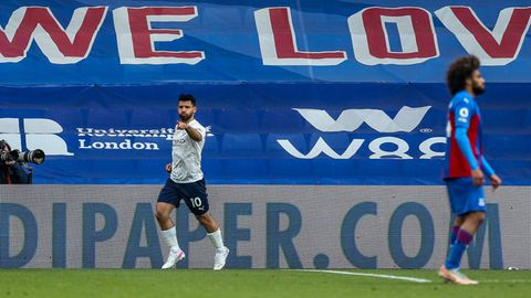 Manchester Citys Sergio Aguero im Spiel gegen Crystal Palace