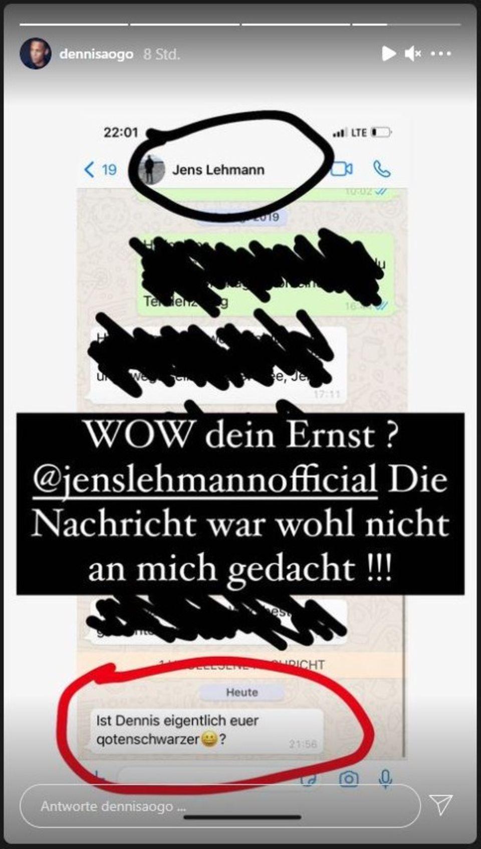 Screenshot der Nachricht von Jens Lehmann an Dennis Aogo
