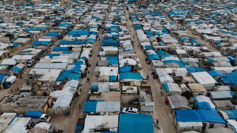 Zelte und Unterkünfte im Flüchtlingslager Atma an der türkisch-syrischen Grenze