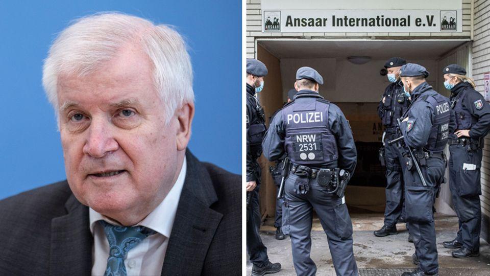 Nordrhein-Westfalen, Düsseldorf: Polizeibeamte stehen vor dem Gebäude des Vereins Ansaar International