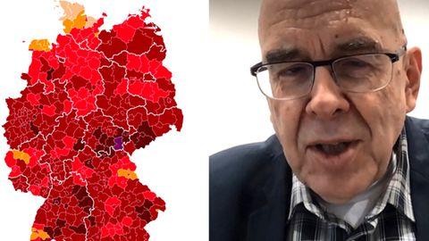 Eine Karte zum Corona-Infektionsgeschehen in Deutschland und der Coronavirus-Forscher Rolf Hilgenfeld