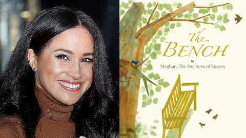 "links: Meghan Markle, rechts: Cover von ""The Bench"""