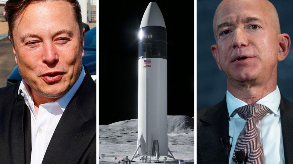 Kombo: Elon Musk, Nasa-Mondlander Artemis, Jeff Bezos
