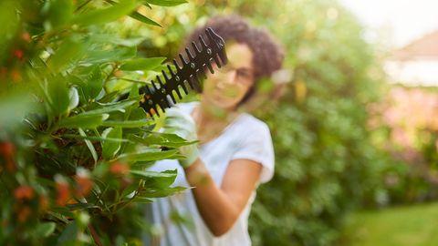 Hecke schneiden: Junge Frau stutzt Hecke mit einer Heckenschere