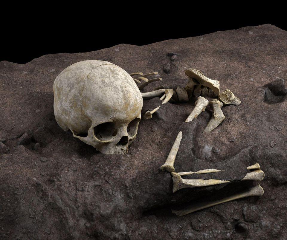 Das Kind wurde mit großer Sorgfalt beigesetzt