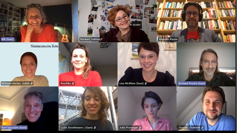 Screenshot der virtuellen Jury-Sitzung für den Egon-Erwin-Kisch Preis 2021