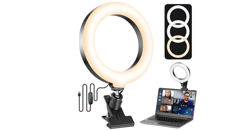 Eine Ringleucte für besseres Licht beim Videochat