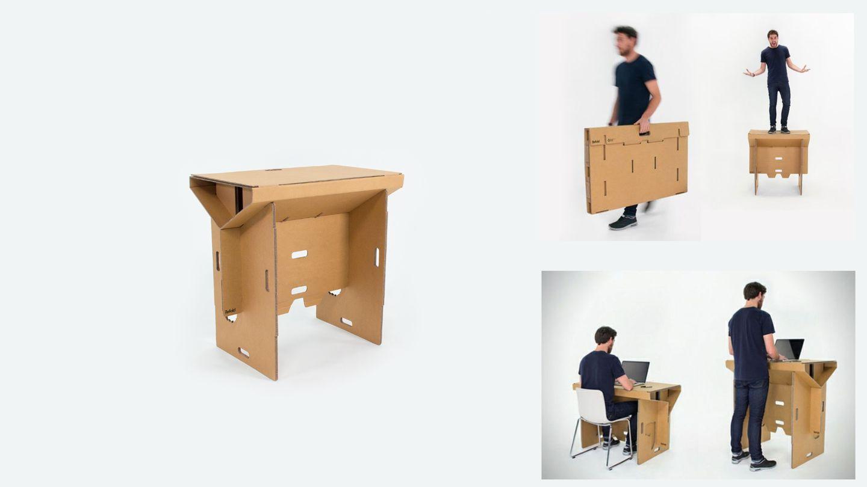 Der Refold Schreibtisch ist aus Pappe