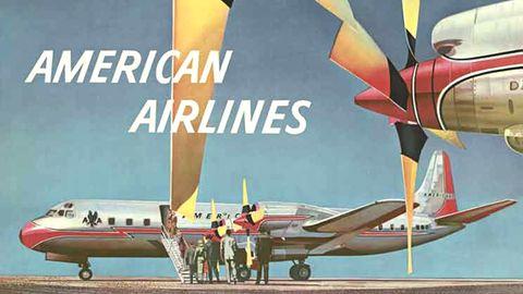 American Airlines warb 1959 mit einem Plakat von Walter Bomar für Flüge mit einem ganz bestimmten Flugzeugtyp: Die viermotorige Lockheed Electra besaß im Gegensatz zu den herkömmlichen Propellermaschinen keinen Kolbenantrieb, sondern bereits moderne Gasturbinen.
