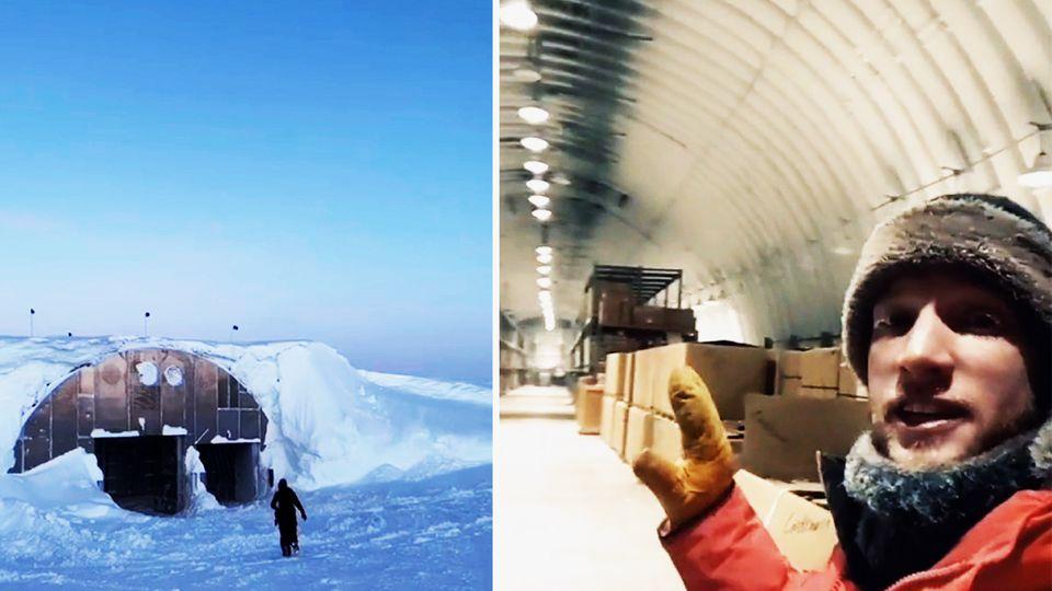 Ein Mann filmt sich selbst in einer Forschungsstation am Südpol