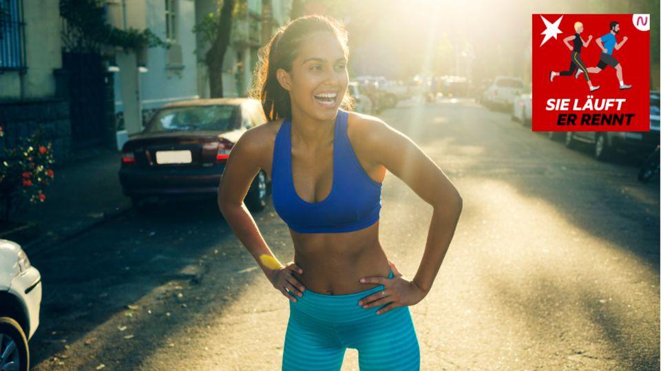 """Podcast """"Sie läuft. Er rennt"""": Läuferin beim Training in der Stadt"""