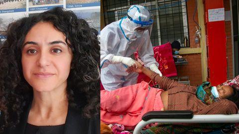 """Hakimeh Yagootkar (l.): """"Die Regierung hat erst sehr spät reagiert. Jetzt sind die Krankenhäuser voll und es gibt keine Betten mehr."""""""