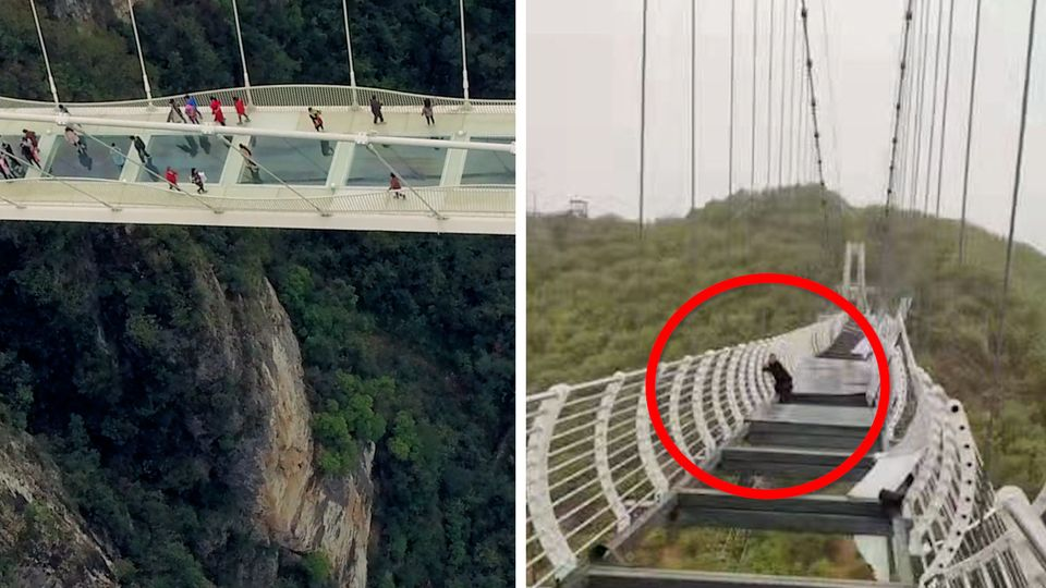 In 100 Meter Höhe: Tourist hängt von Geländer einer zerstörten Glasbodenbrücke