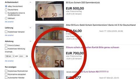 Auf eBay werden 50-Euro-Scheine für bis zu 700 Euro zum Verkauf angeboten.