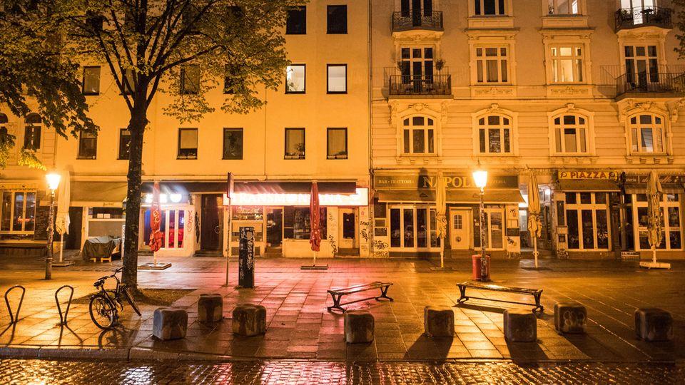 Hamburg, Schanzenviertel um Mitternacht, menschenleer